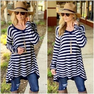 Navy Stripped Sweater Tunic